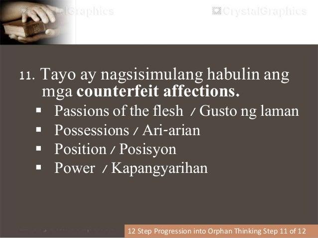 12. Pumapasok sa buhay ng oppression (victim mentality) 12 Step Progression into Orphan Thinking Step 12 of 12