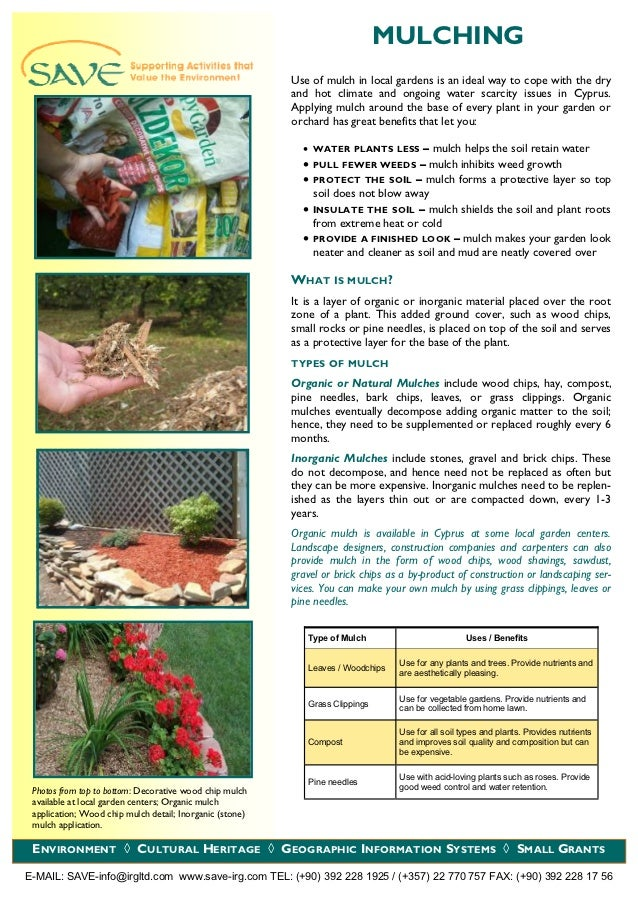 MULCHING                                                          Use of mulch in local gardens is an ideal way to cope wi...