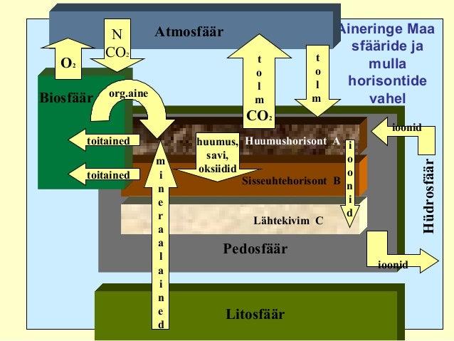 Aineringe Maa sfääride ja mulla horisontide vahel Pedosfäär Huumushorisont A Sisseuhtehorisont B Lähtekivim C Litosfäär Bi...