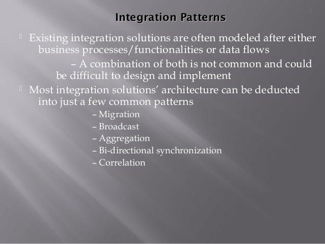 Integration PatternsIntegration Patterns  Existing integration solutions are often modeled after either business processe...