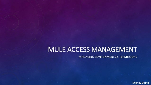 MULE ACCESS MANAGEMENT MANAGING ENVIRONMENTS & PERMISSIONS Shanky Gupta