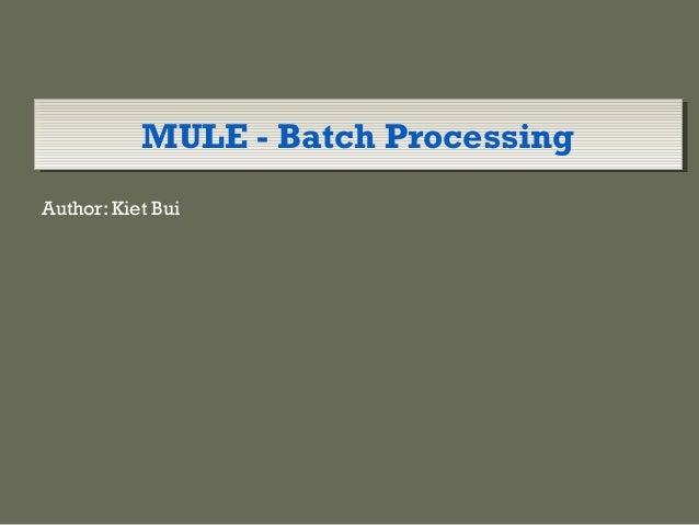 Mule Esb Batch process