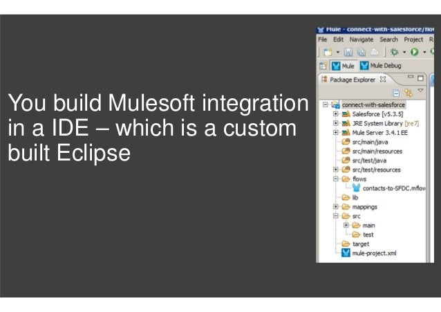 You build Mulesoft integration in a IDE – which is a custom built Eclipse