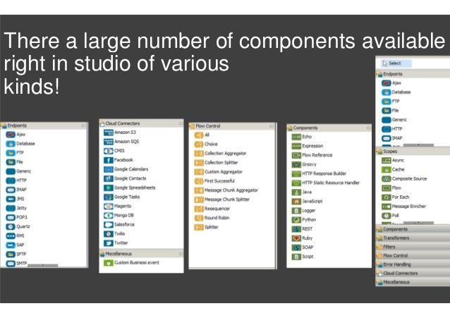 There a large number of components available right in studio of various kinds!