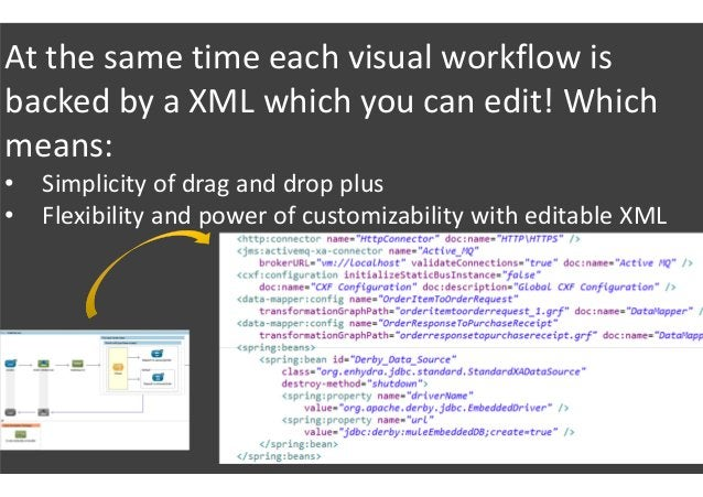 At the same time each visual workflow is backed by a XML which you can edit! Which means: • Simplicity of drag and drop pl...
