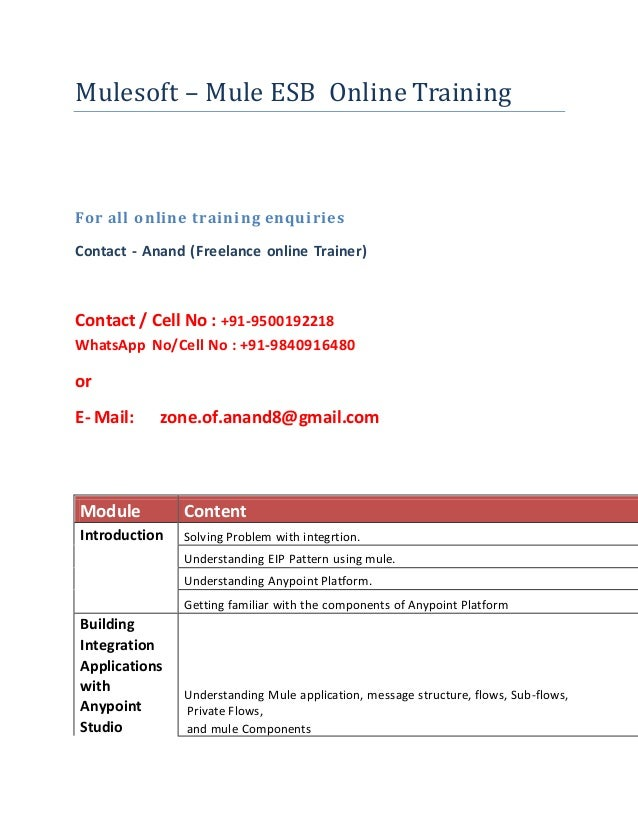 Mulesoft training course content