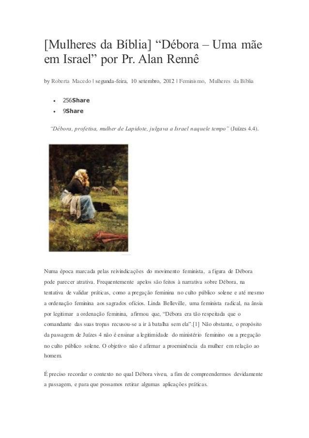 """[Mulheres da Bíblia] """"Débora – Uma mãe em Israel"""" por Pr. Alan Rennê by Roberta Macedo   segunda-feira, 10 setembro, 2012 ..."""