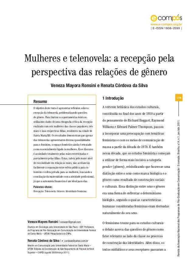www.e-compos.org.br | E-ISSN 1808-2599 |  Mulheres e telenovela: a recepção pela perspectiva das relações de gênero Veneza...