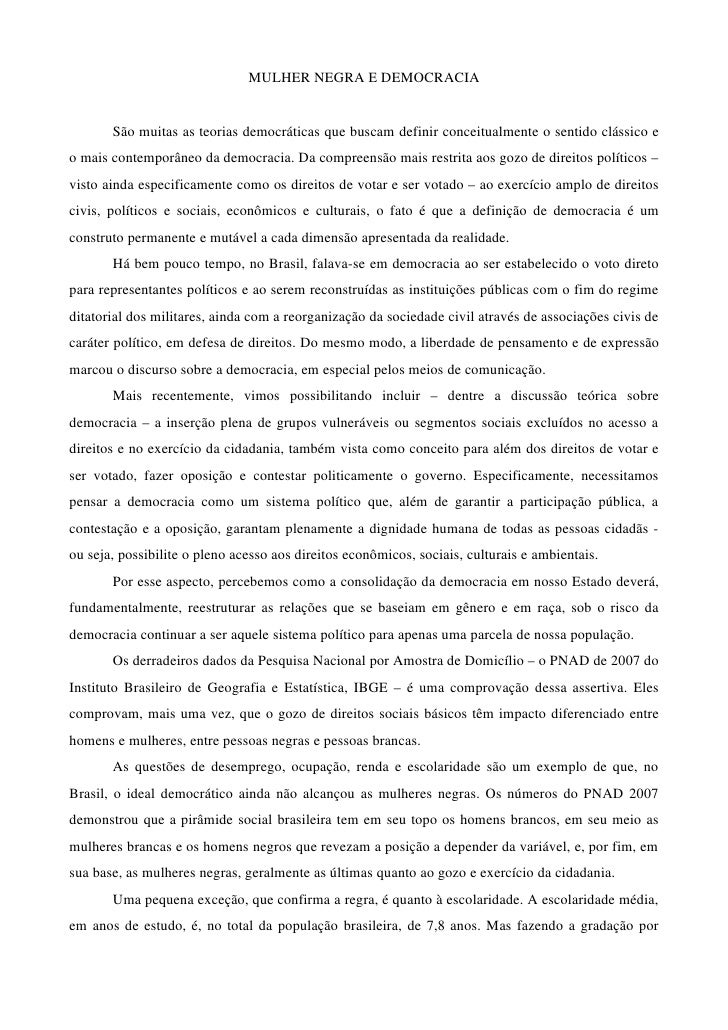 MULHERNEGRAEDEMOCRACIA           Sãomuitasasteoriasdemocráticasquebuscamdefinirconceitualmenteosentidoclássi...