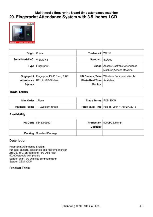 Muliti media fingerprint & card time attendance machine