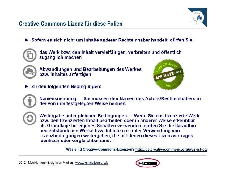 Creative-Commons-Lizenz für diese Folien                                 Was sind Creative-Commons-Lizenzen? http://de.cre...