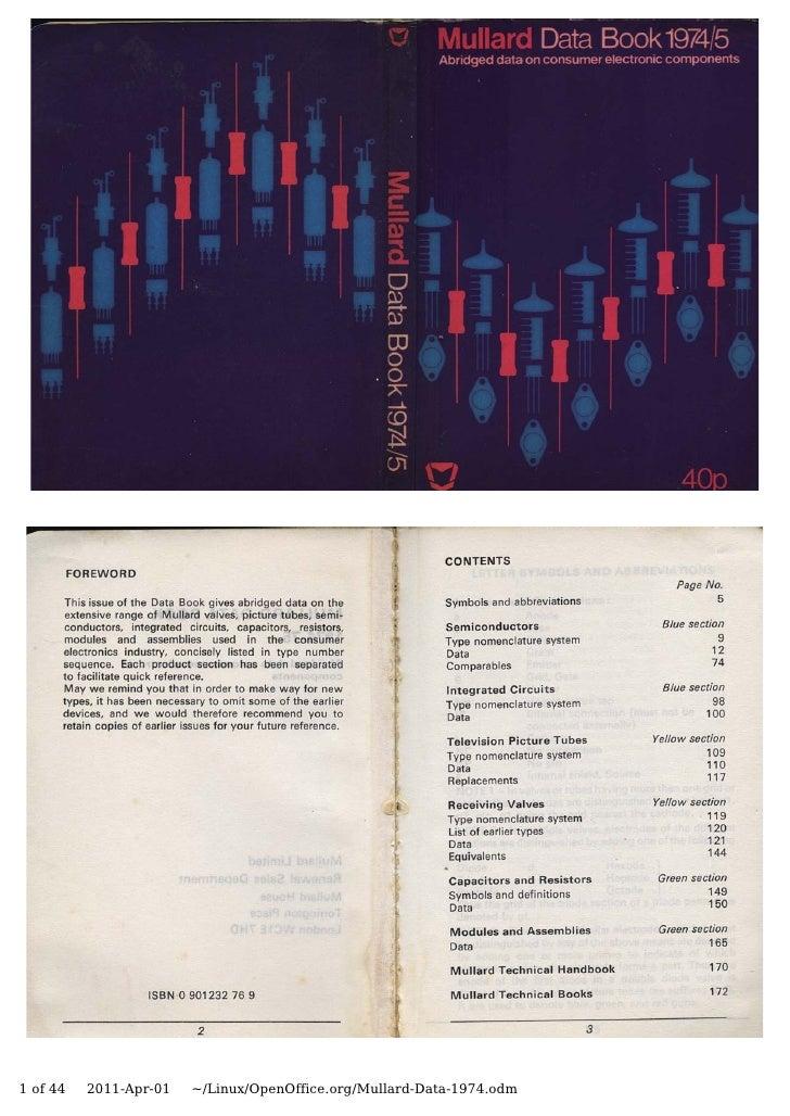 1 of 44   2011-Apr-01   ~/Linux/OpenOffice.org/Mullard-Data-1974.odm