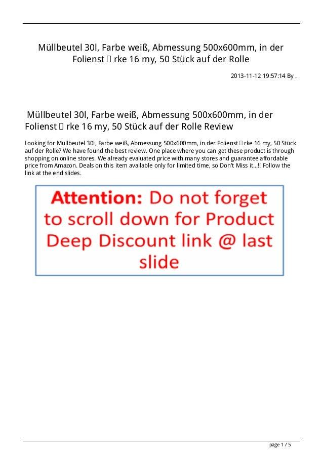 Müllbeutel 30l, Farbe weiß, Abmessung 500x600mm, in der Folienstärke 16 my, 50 Stück auf der Rolle 2013-11-12 19:57:14 By ...