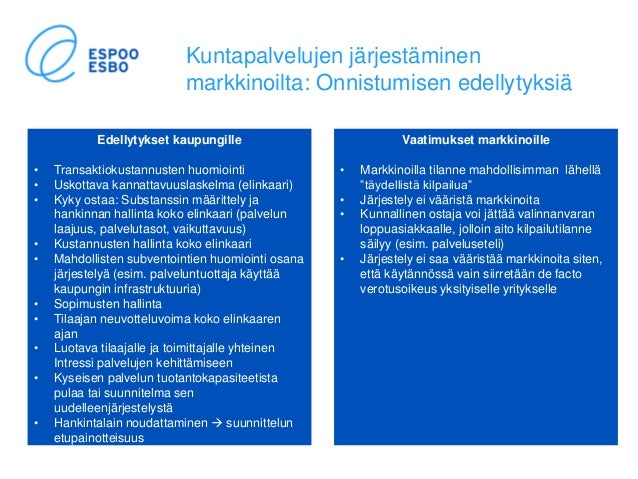 Kuntapalvelujen järjestäminen markkinoilta: Onnistumisen edellytyksiä Edellytykset kaupungille • Transaktiokustannusten hu...