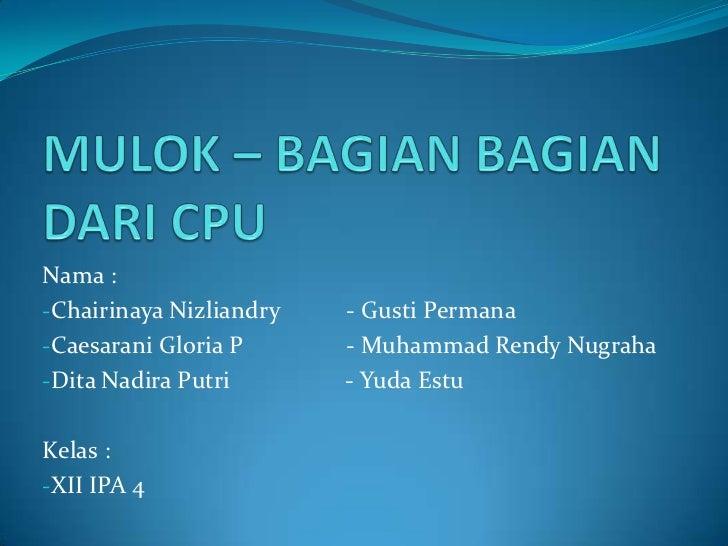 Nama :-Chairinaya Nizliandry   - Gusti Permana-Caesarani Gloria P      - Muhammad Rendy Nugraha-Dita Nadira Putri       - ...