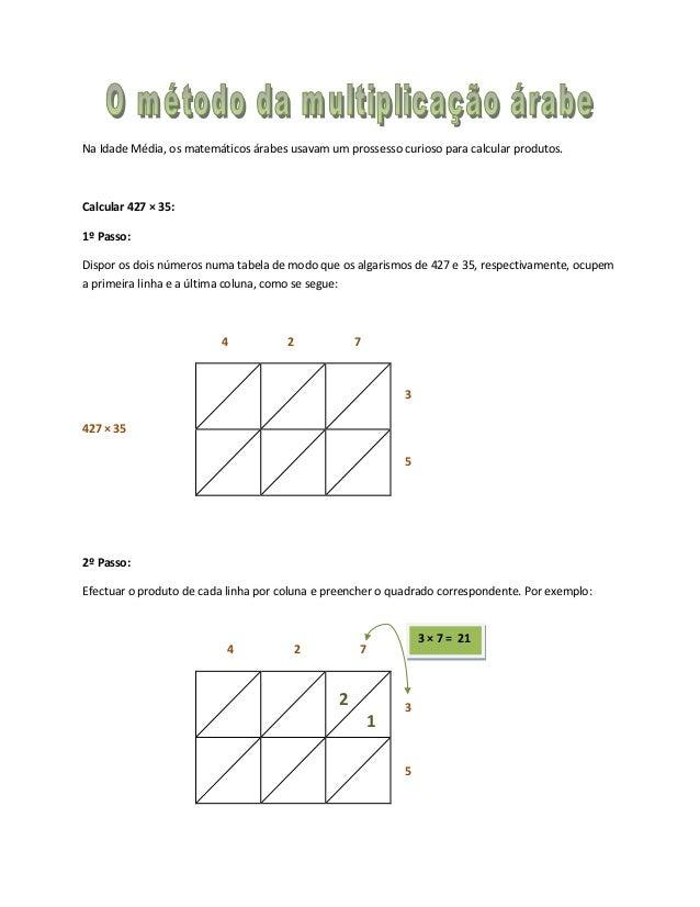Na Idade Média, os matemáticos árabes usavam um prossesso curioso para calcular produtos.Calcular 427 × 35:1º Passo:Dispor...
