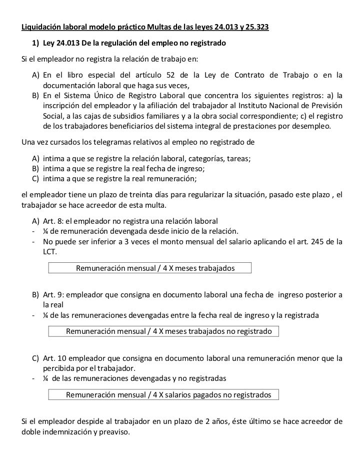 Liquidación laboral modelo práctico Multas de las leyes 24.013 y 25.323<br />Ley 24.013 De la regulación del empleo no reg...