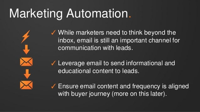 Marketing Automation. ✓ While marketers need to think beyond the inbox, email is still an important channel for communicat...