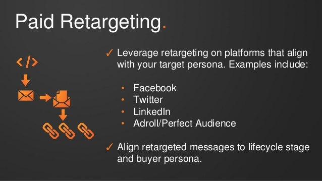 Paid Retargeting. ✓ Leverage retargeting on platforms that align with your target persona. Examples include: • Facebook • ...
