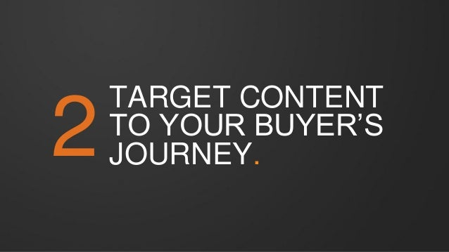 2 TARGET CONTENT TO YOUR BUYER'S JOURNEY.