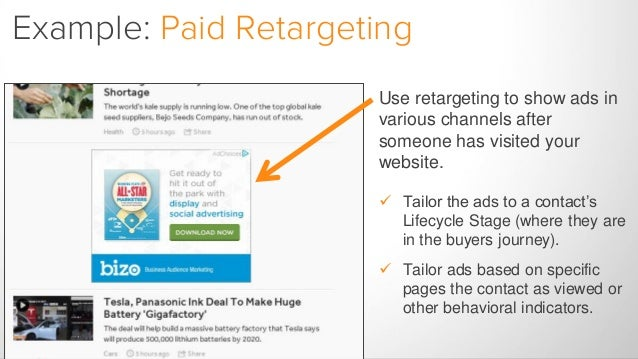 Example: Paid Retargeting Use retargeting to show ads in various channels after someone has visited your website.  Tailor...