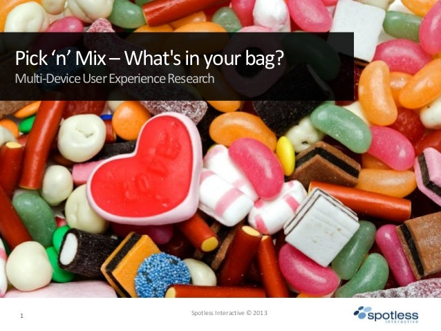1 Spotless Interactive © 2013Pick'n'Mix–Whatsinyourbag?Multi-DeviceUserExperienceResearch