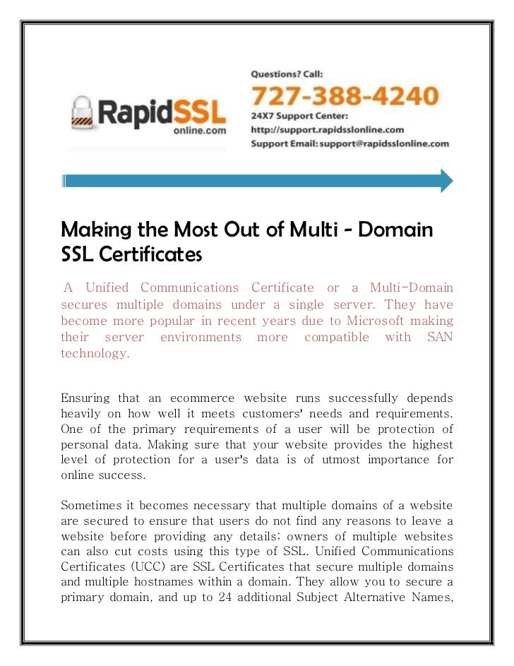 Making The Most Out Of Multi Domain Ssl Certificates Rapidsslonline