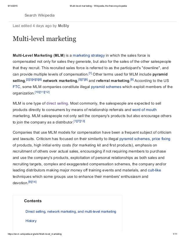 Multi level marketing - wikipedia, the free encyclopedia