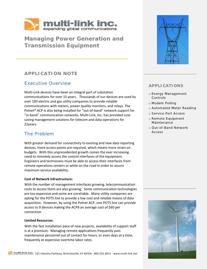 Managing Power Generation and Transmission Equipment      APPLICATION NOTE  Executive Overview                       ...
