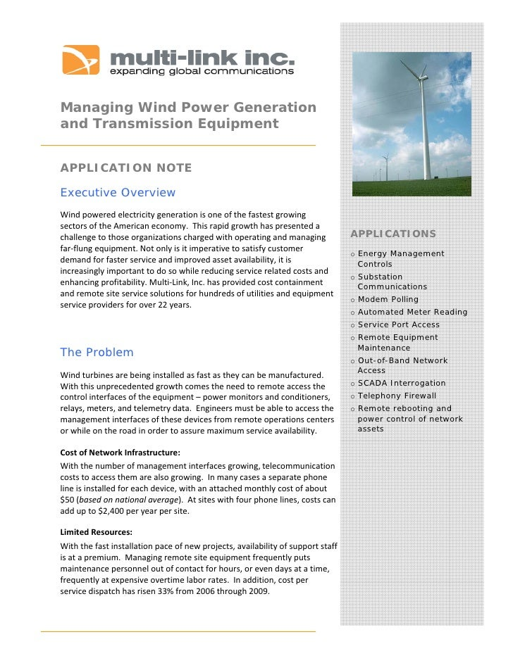 Managing Wind Power Generation and Transmission Equipment    APPLICATION NOTE  Executive Overview Windpoweredelec...
