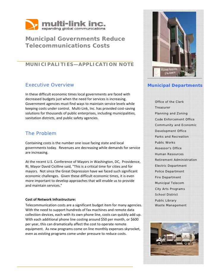 Municipal Governments Reduce Telecommunications Costs    MUNICIPALITIES—APPLICATION NOTE    Executive Overview       ...