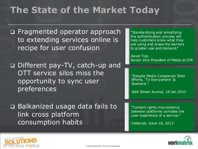 The State of the Market Today  Fragmented operator approach to extending services online is recipe for user confusion  D...