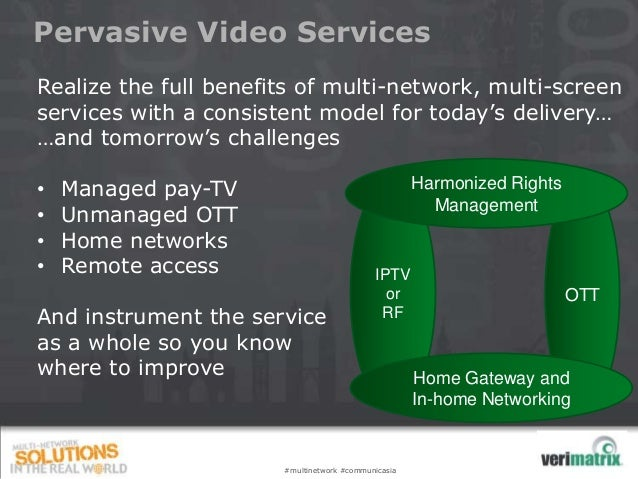 Pervasive Video Services Realize the full benefits of multi-network, multi-screen services with a consistent model for tod...
