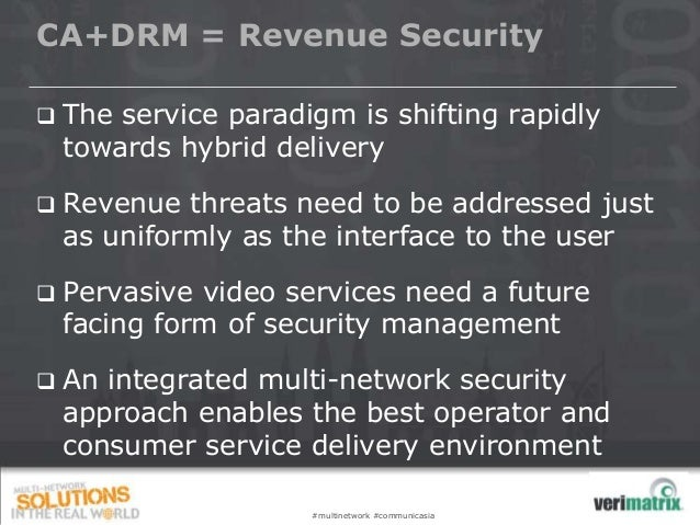 CA+DRM = Revenue Security  The service paradigm is shifting rapidly towards hybrid delivery  Revenue threats need to be ...