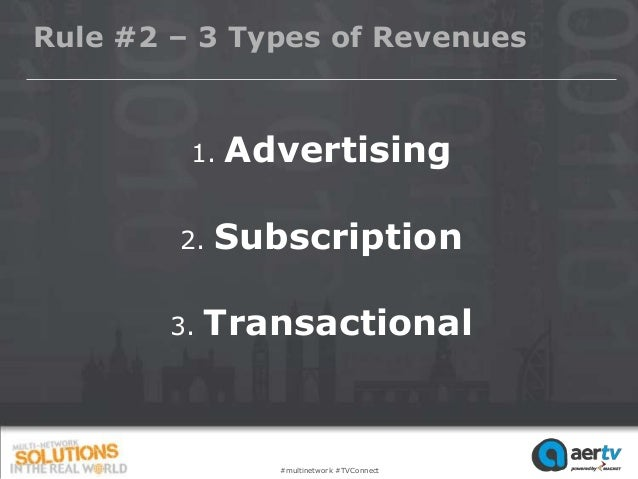 Rule #2 – 3 Types of Revenues         1.   Advertising        2.   Subscription        3.   Transactional                #...