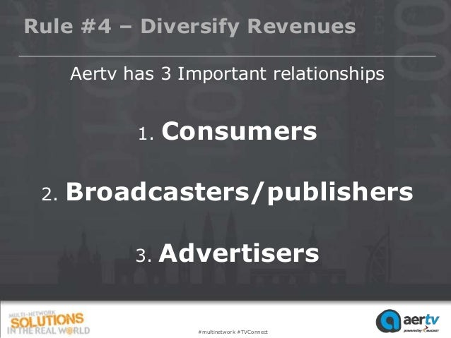 Rule #4 – Diversify Revenues      Aertv has 3 Important relationships             1.   Consumers 2.   Broadcasters/publish...