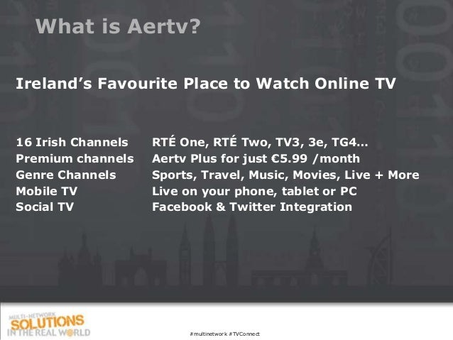 What is Aertv?Ireland's Favourite Place to Watch Online TV16 Irish Channels   RTÉ One, RTÉ Two, TV3, 3e, TG4…Premium chann...
