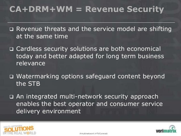 CA+DRM+WM = Revenue Security   Revenue threats and the service model are shifting    at the same time   Cardless securit...