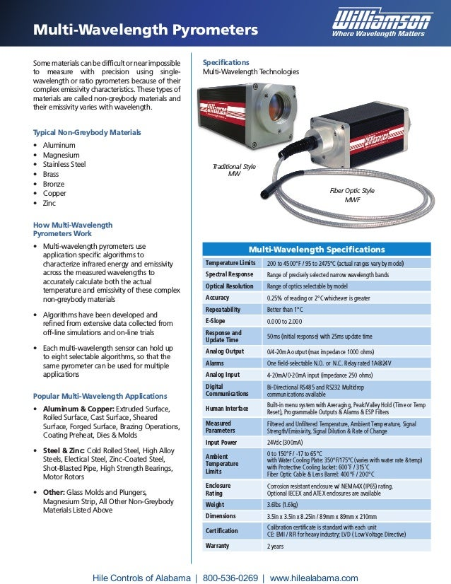 Multi-Wavelength Pyrometers Some materials can be difficult or near impossible to measure with precision using single- wav...