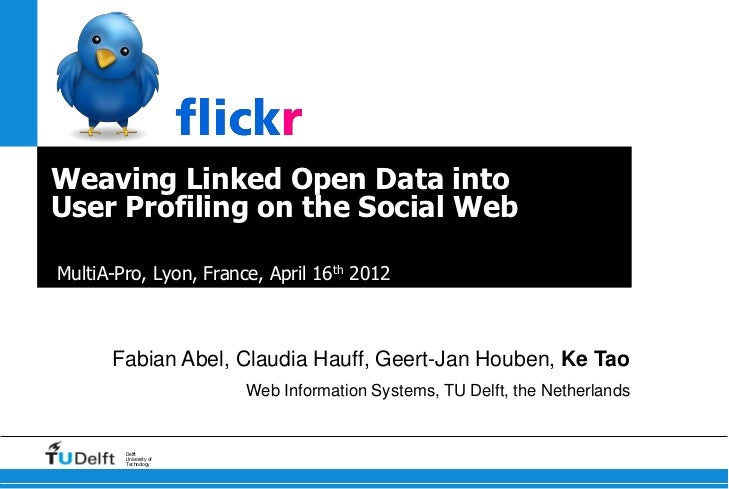 Weaving Linked Open Data intoUser Profiling on the Social WebMultiA-Pro, Lyon, France, April 16th 2012      Fabian Abel, C...