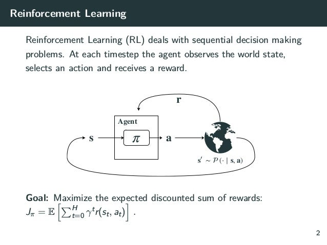 Reinforcement Learning Reinforcement Learning (RL) deals with sequential decision making problems. At each timestep the ag...