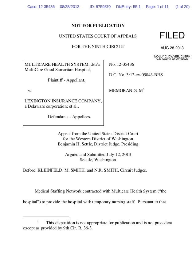 NOT FOR PUBLICATION UNITED STATES COURT OF APPEALS FOR THE NINTH CIRCUIT MULTICARE HEALTH SYSTEM, d/b/a MultiCare Good Sam...