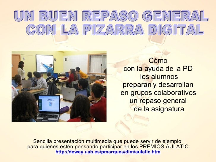 Sencilla presentación multimedia que puede servir de ejemplo  para quienes estén pensando participar en los PREMIOS AULATI...