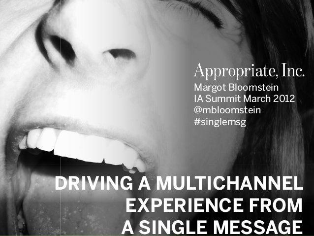 #singlemsg   @mbloomstein © 2012© 2012 Margot Bloomstein IA Summit March 2012 @mbloomstein #singlemsg DRIVING A MULTICHANN...