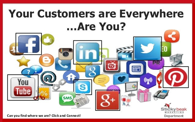 Department Your Customers are Everywhere …Are You? Can you find where we are? Click and Connect!