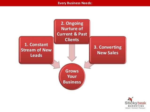 Every Business Needs: Grows Your Business 1. Constant Stream of New Leads 2. Ongoing Nurture of Current & Past Clients 3. ...