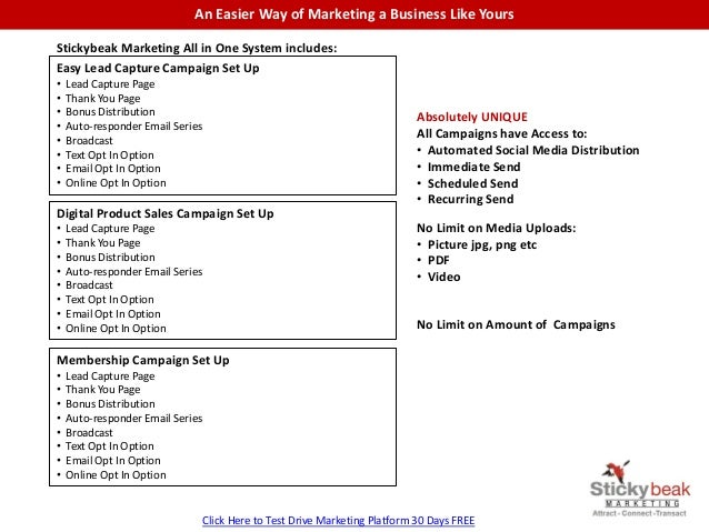 An Easier Way of Marketing a Business Like Yours Stickybeak Marketing All in One System includes: Easy Lead Capture Campai...