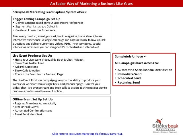 An Easier Way of Marketing a Business Like Yours Stickybeak Marketing Lead Capture System offers: Trigger Texting Campaign...
