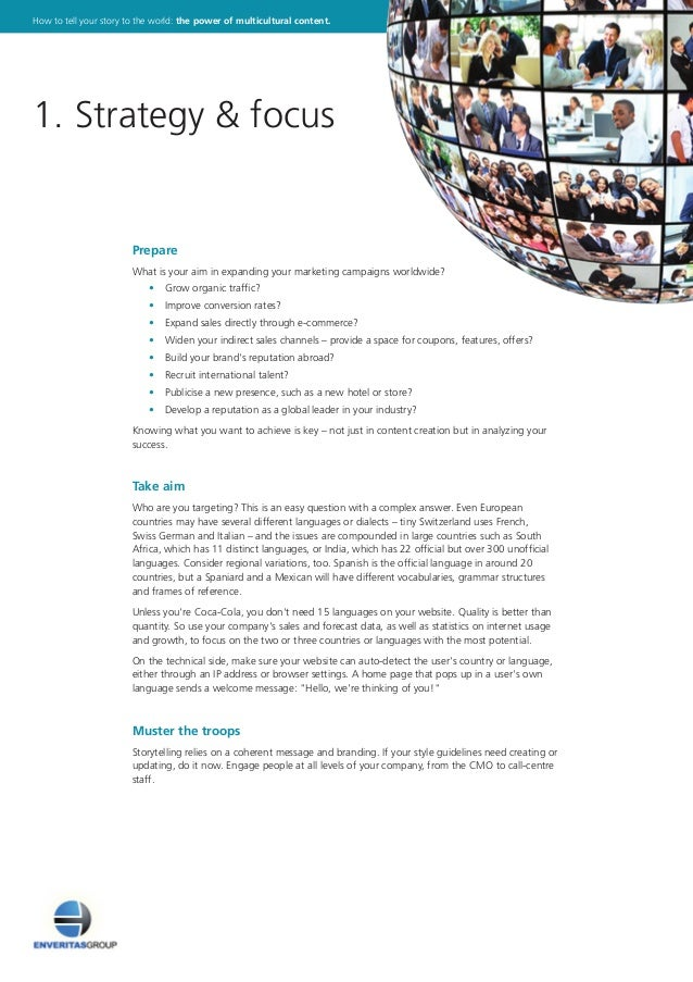 Prepare What is your aim in expanding your marketing campaigns worldwide?  • Grow organic traffic?  • Improve conversi...