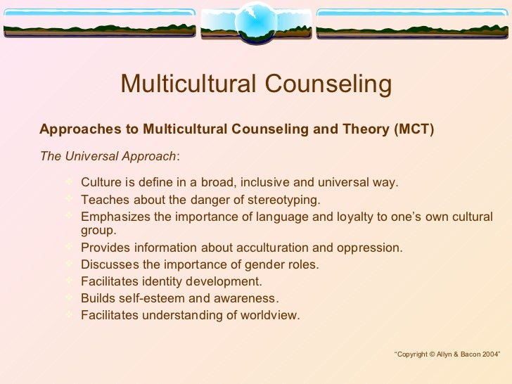 group counseling in a multicultural context Multicultural counseling: the factors, the  what are effective counseling processes with this person/group  multicultural counseling: historical context.